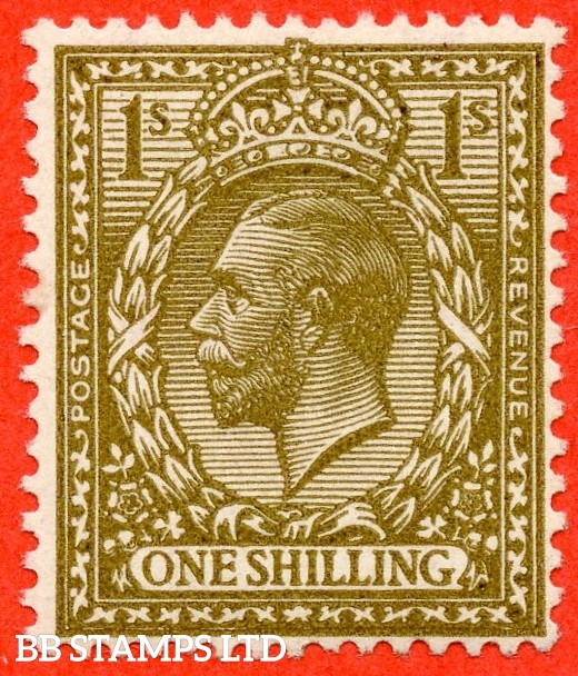 SG. N32 (10). 1/- deep bronze - brown. A fine lightly mounted mint example of this RARE and underrated George V shade variety complete with RPS certificate.