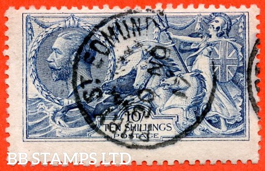 """SG. 412. N70 (1). 10/- blue. A fine """" 20th November 1917 BURY ST. EDMONDS """" CDS used example of this very difficult Seahorse."""