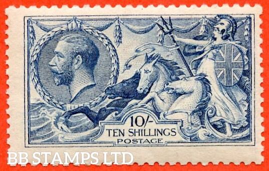 SG. 412. N70 (1). 10/- blue. A very fine UNMOUNTED MINT example of this very difficult Seahorse shade.