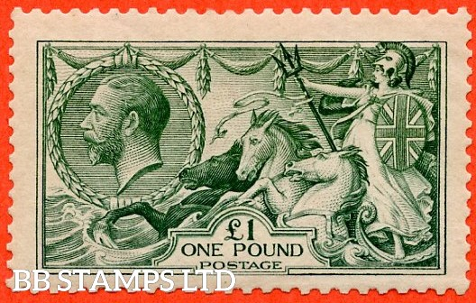SG. 404. N72 (3). £1.00 Blue green. A very fine UNMOUNTED MINT example of this beautiful George V high value.