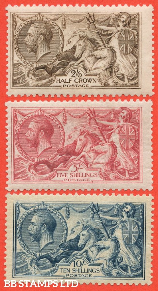SG. 413a / 417. N65 - N71. 2/6 - 10/- A complete set of three lightly mounted mint.