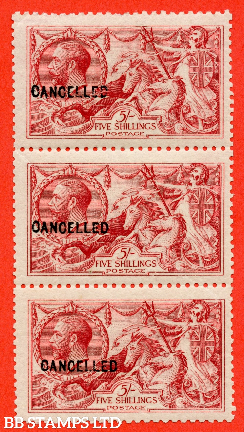 "SG. 409. Variety N67 (2) t. 5/- Carmine. A very fine UNMOUNTED MINT vertical strip of 3 overprinted "" CANCELLED "" type 24. Light gum bend on the centre stamp but a RARE multiple."