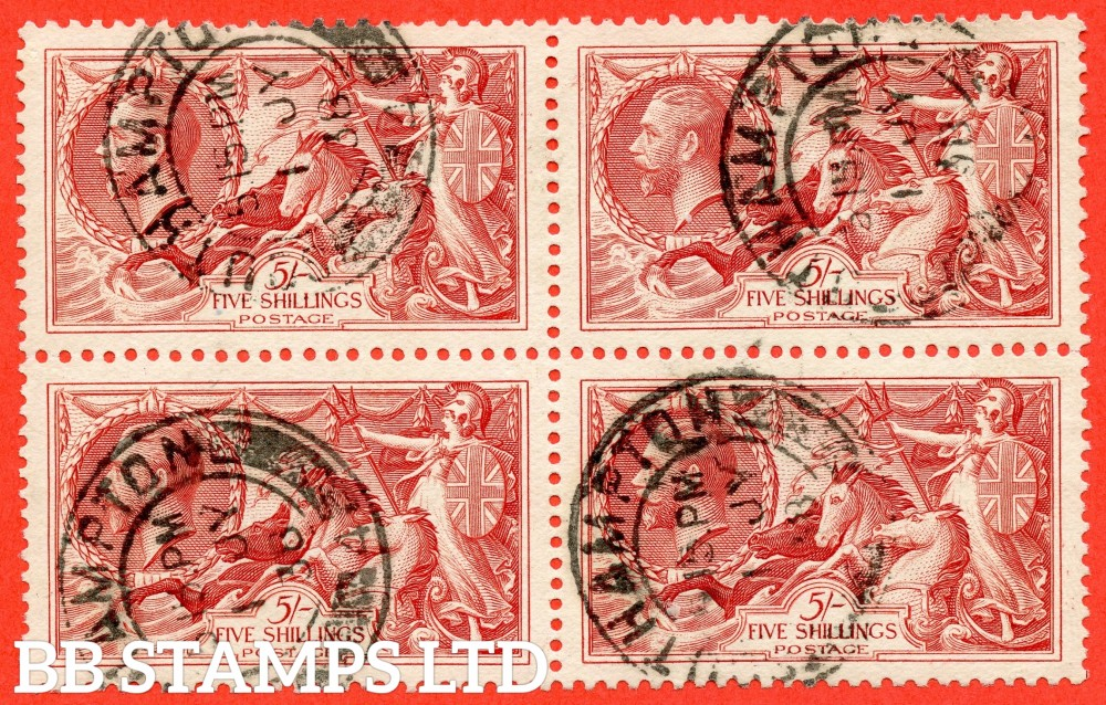 """SG. 451. N74. 5/- bright rose - red. A """" 1st July 1938 SOUTHAMPTON """" CDS used block of 4. A scarce multiple."""