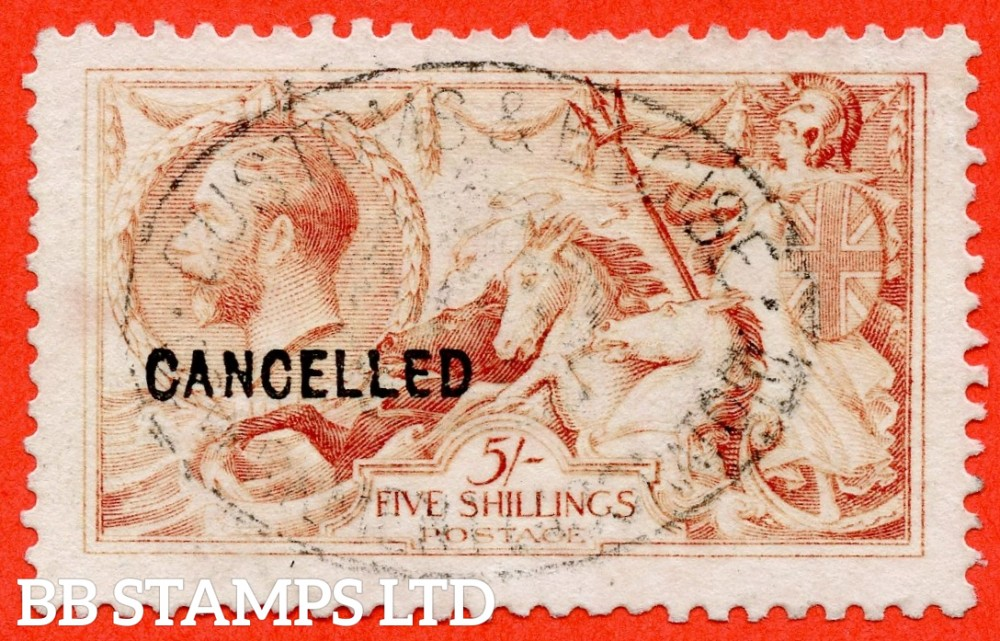 """SG. 401. N66 (3) t. 5/-. A fine used example overprinted CANCELLED type 24 and used with the """" CUSTOMS and EXCISE """" hanstamp as part of experiments to remove cancellations on recess printed stamps. RARE !."""