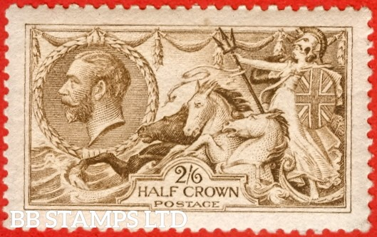 SG. 406 wj. N64 (2) g. 2/6 Yellow brown. A very fine UNMOUNTED MINT example with the RARE variety REVERSED watermark. A scarce stamp in this grade.