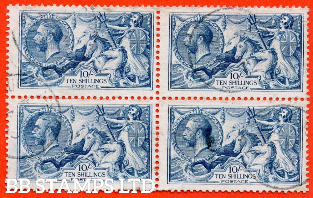 """SG. 417 a. N71 (2) a & ab. 10/- dull grey - blue. A fine CDS used block of 4 with the listed varieties """" Re - entry ( Pl. 1/3L ' Pl. 5 ' Row 1/1 ) """" and """" Re - entry  ( Pl. 1/3L ' Pl. 5 ' Row 2/1 ) """". Complete with BPA certificate."""