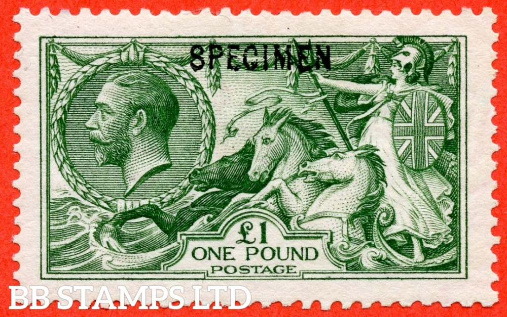"""SG. 403 s. N72 (1) t. £1.00 Green. A fine mounted mint example overprinted """" SPECIMEN """" type 26."""