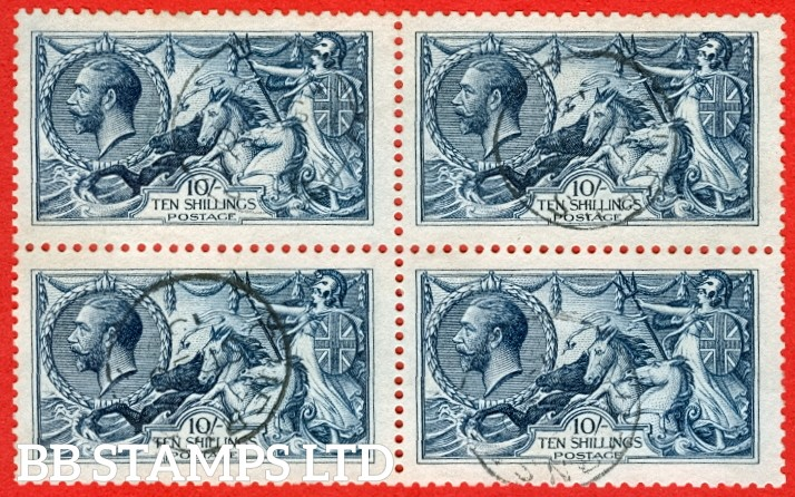 """SG. 402. N69 (1). 10/- Indigo - blue. A SUPERB BLOCK OF FOUR, brilliant used and each cancelled by a fine """" Guernsey """" CDS. A VERY rare block."""