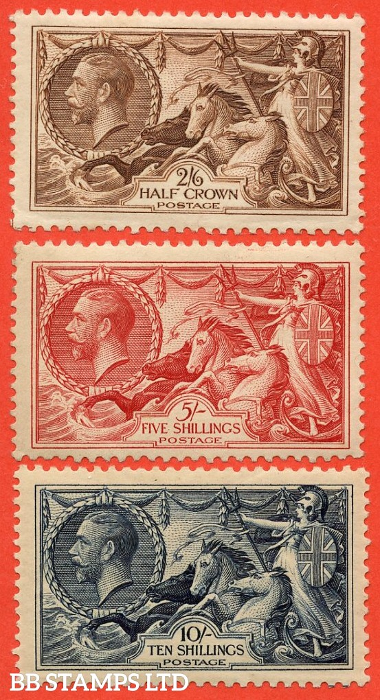 SG. 450 - 452. N73 - N75. 2/6 - 10/-. A superb UNMOUNTED MINT complete set of three of these classic George V high values.