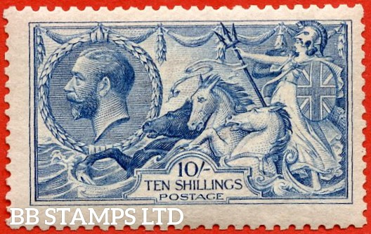 """SG. N70 (3) 10/- Bright (""""Cambridge"""") blue. A SUPERB UNMOUNTED MINT example of this RARE Seahorse shade. Well centred with excellent perfs and complete with RPS certificate."""