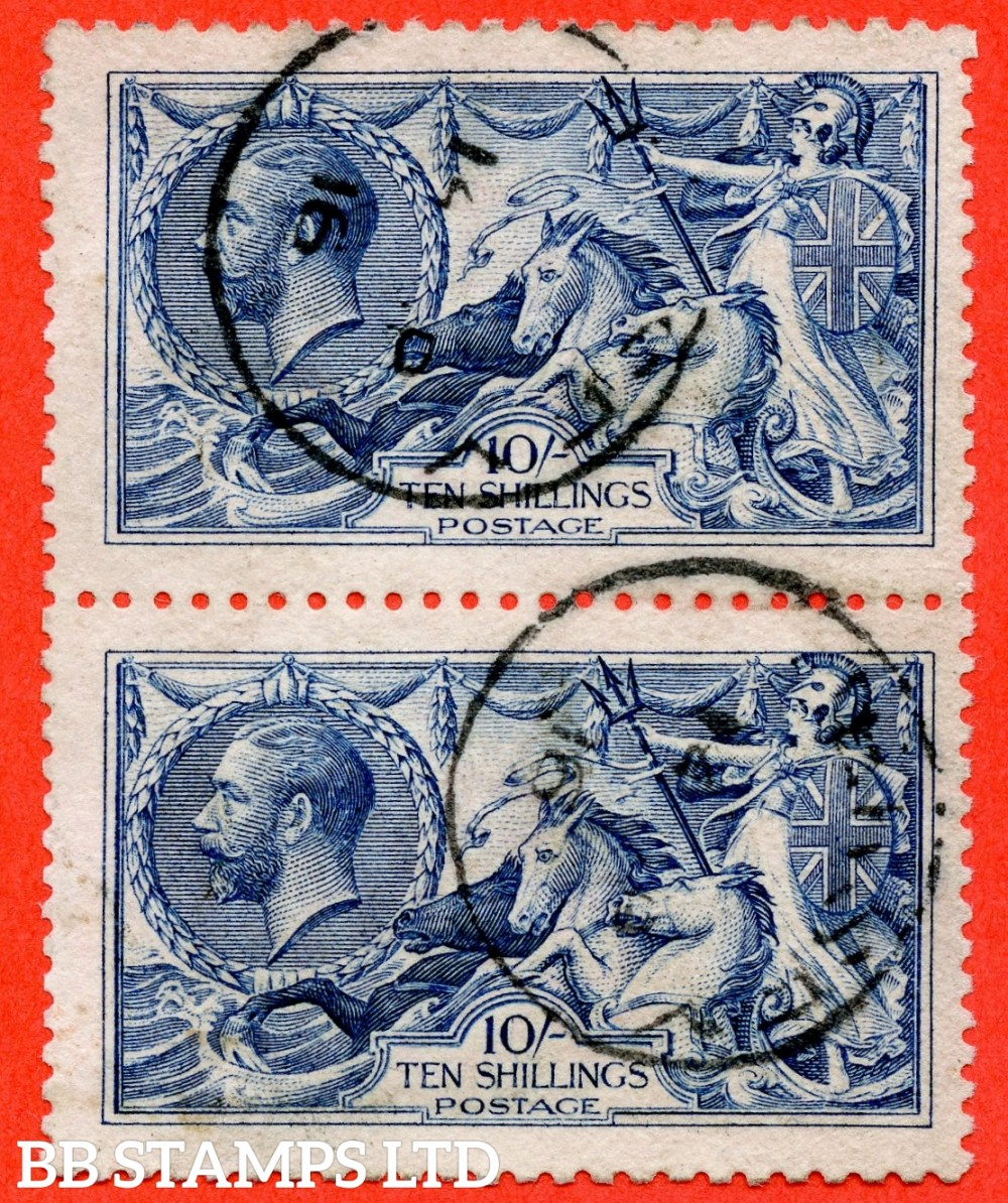 "SG. 412. N70 (1). 10/- blue. A very fine "" 1916 Jersey  "" CDS used vertical pair of this very difficult Seahorse."