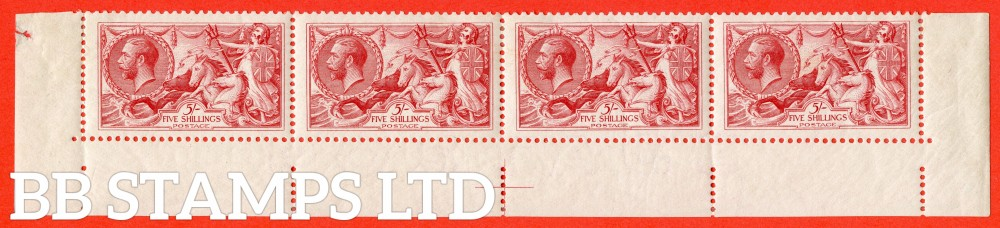 SG. 416. N68 (3). 5/- Rose - red. A very fine mounted mint complete bottom row.A very scarce multiple.