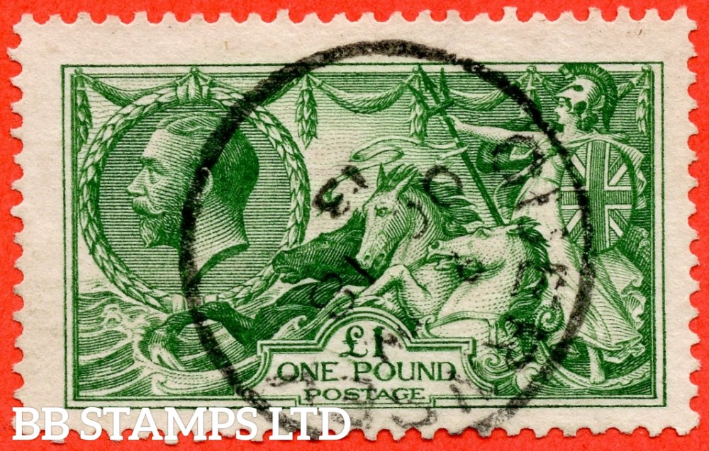 """SG. 403. N72 (1). £1.00 green. A very fine """" 18th October 1913 GUERNSEY """" CDS used example."""