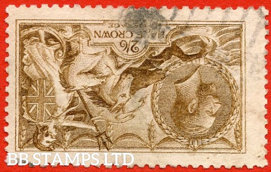 SG. 406 wi. N64 (2) f. 2/6 Yellow Brown. INVERTED WATERMARK. A good used example of this difficult DLR 2/6 Seahorse watermark variety.