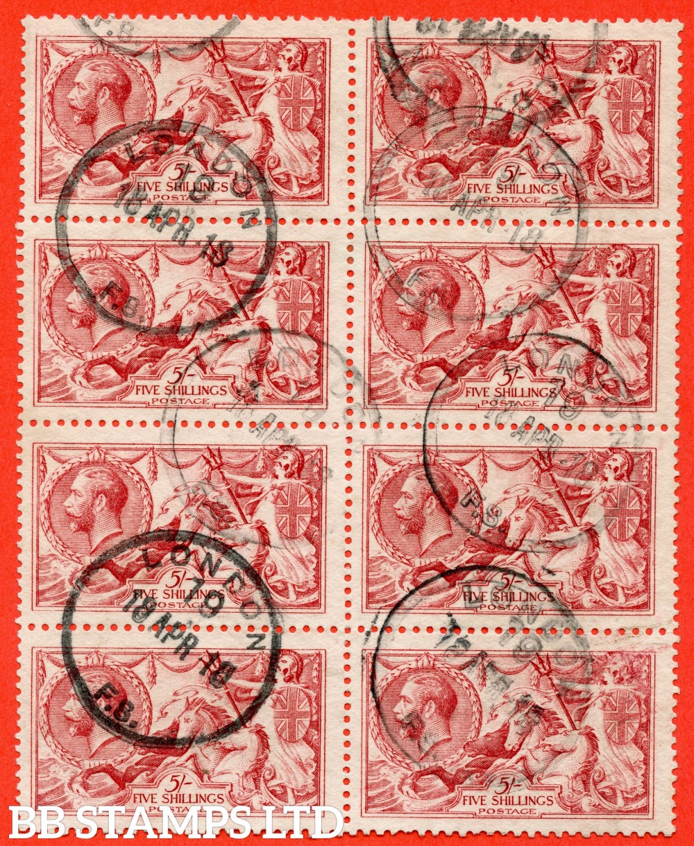 """SG. 410. N67 (3). 5/- pale carmine (worn plate). A fine """" 18th April 1918 LONDON """" CDS used vertical block of 8. A very scarce multiple."""