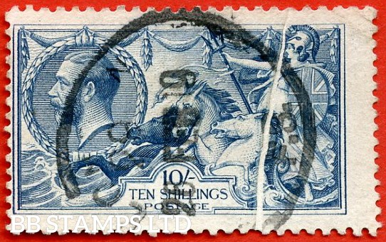 "SG. 417 variety N71 (1). 10/- Dull blue. A good - fine used example with a super "" PAPER FOLD ERROR "". Rare to find errors on Seahorses."