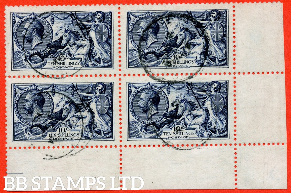 "SG. 402. N69 (1). 10/- indigo - blue. A very fine "" 14th September 1915 "" CDS used bottom right hand corner marginal block of 4."