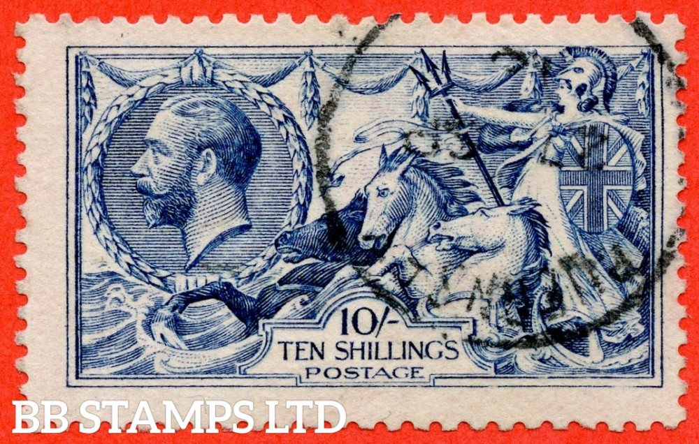 """SG. 411. N70 (2). 10/- deep - blue. A very fine """" 27th September GUERNSEY """" CDS used example of this difficult Seahorse shade variety."""