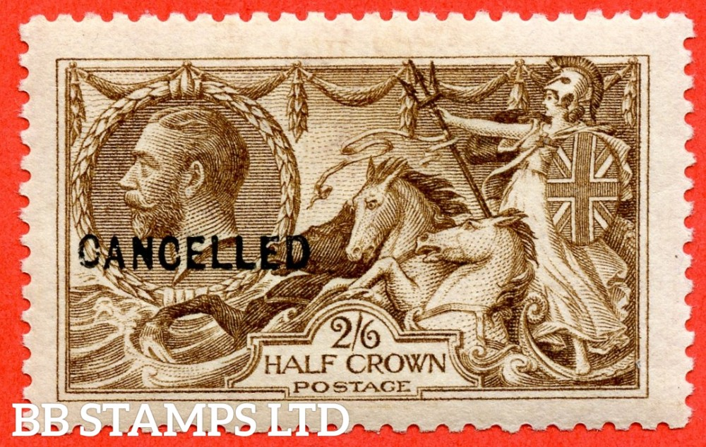 SG. N64 (4) t. 2/6 Dark Brown. A very fine UNMOUNTED MINT example overprinted CANCELLED type 24.