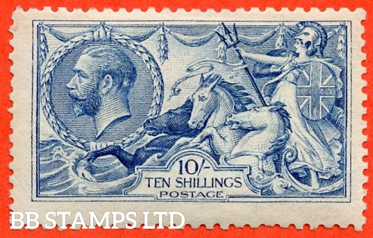 "SG. N70 (3) 10/- Bright ( "" Cambridge "" ) blue. A fine UNMOUNTED MINT example of this RARE Seahorse shade complete with RPS certificate."