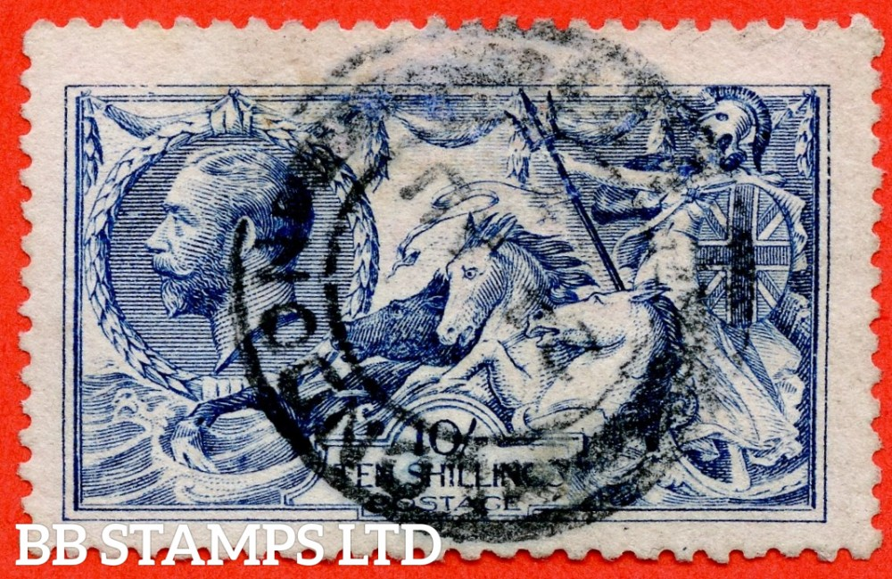 """SG. 412. N70 (1). 10/- blue. A fine """" 24th August LONDON """" CDS used example."""