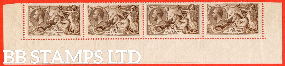 SG. 415. N65 (4). 2/6 reddish - brown. A superb lightly mounted mint complete bottom row of 4 stamps.
