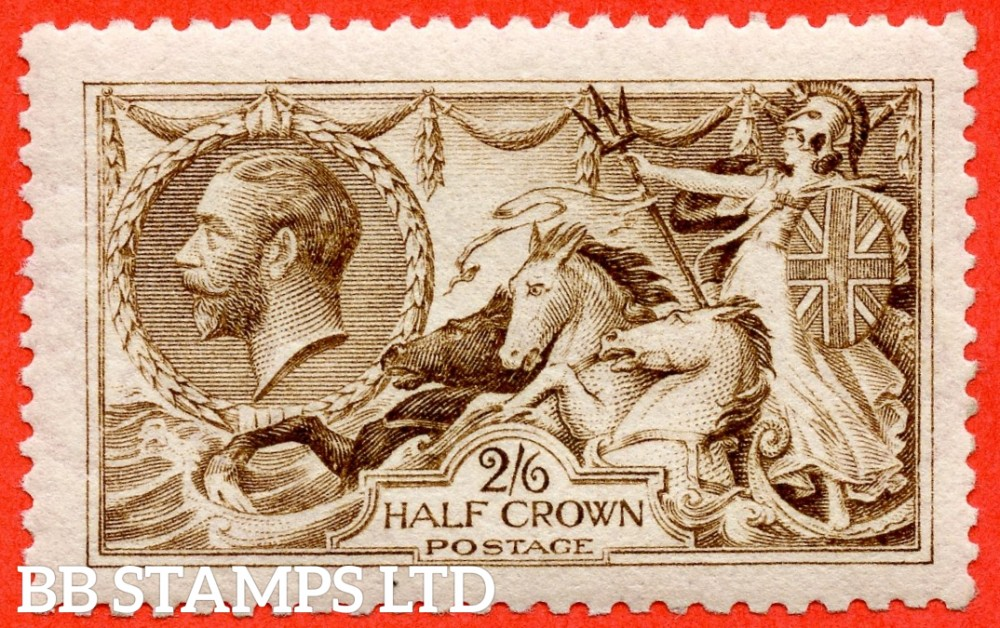 SG. 406 wj. N64 (6) g. 2/6 Yellow brown. REVERSED WATERMARK. A fine UNMOUNTED MINT example.