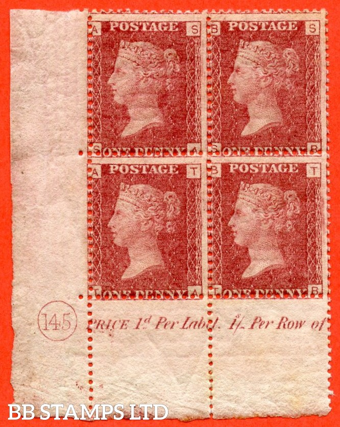 """SG. 43/44. """" SA SB TA TB """" 1d red. Plate 145. A very fine lightly mounted mint corner plate block of 4."""