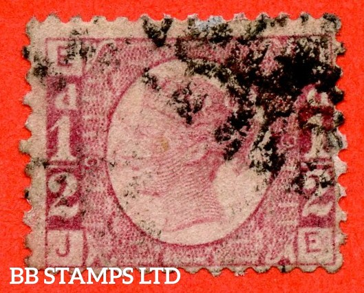 """SG. 48/49. """" JE """". ½d Rose - red plate 9. A good used example of this difficult plate number."""
