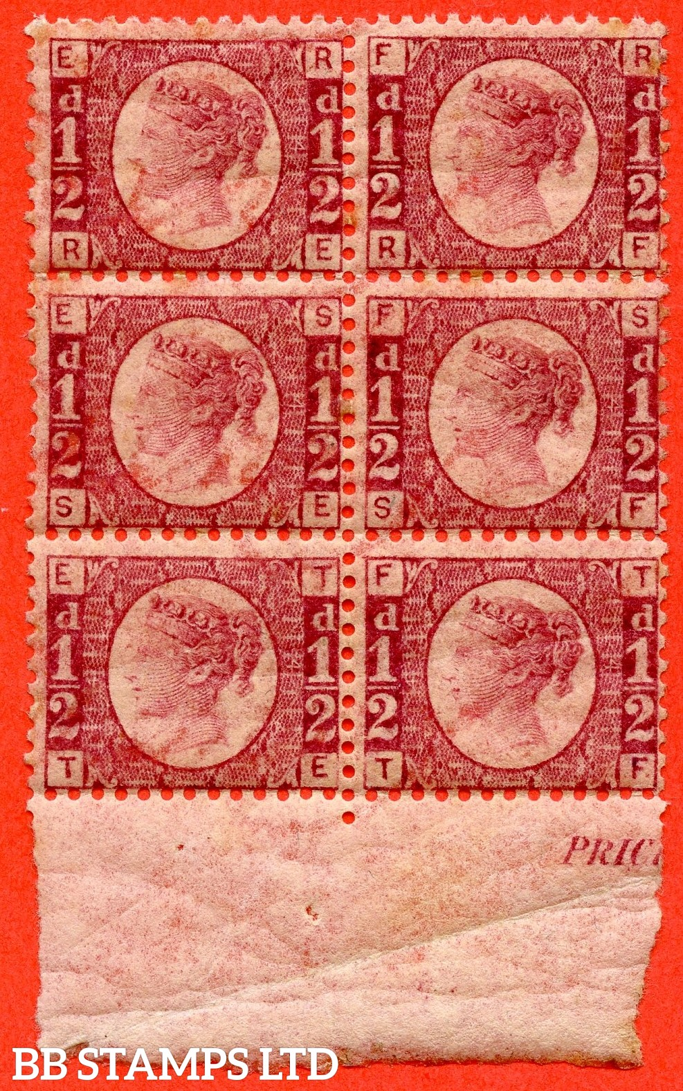 "SG. 48/49. G4. "" RE RF SE SF TE TF "". ½d rose - red plate 4 . A fine UNMOUNTED MINT bottom marginal block of 6."