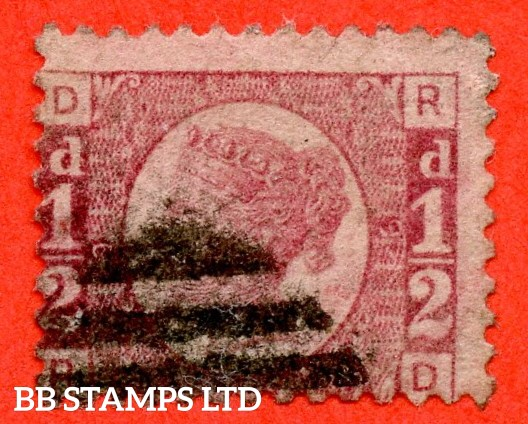 """SG. 48/49. """" RD """". ½d Rose - red plate 9. A good used example of this difficult plate number."""