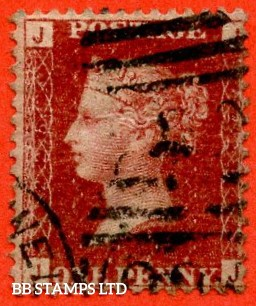 """SG. 43/44. """" JJ """". 1d Rose - red plate 225.  A fine used example of this difficult plate number."""