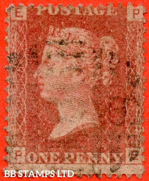 """SG. 43/44. """" PE """". 1d Rose - red plate 225.  A good used example of this difficult plate number."""