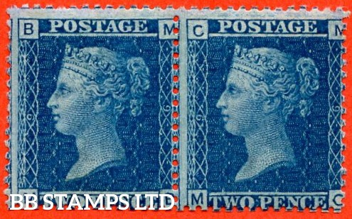 "SG. 45. G2. "" MB MC "". 2d blue. Plate 9. A very fine UNMOUNTED MINT horizontal pair."