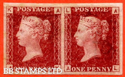 "SG. 44 a. G1 h. "" AK AL "". 1d lake red. Plate 107. A super mounted mint horizontal pair of this RARE "" IMPERF "" error complete with RPS certificate."