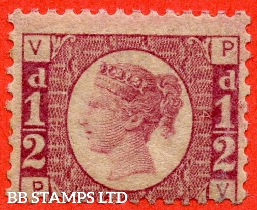 """SG. 48/49. G4. """" PV """". ½d rose - red plate 14 . A fine UNMOUNTED MINT example."""
