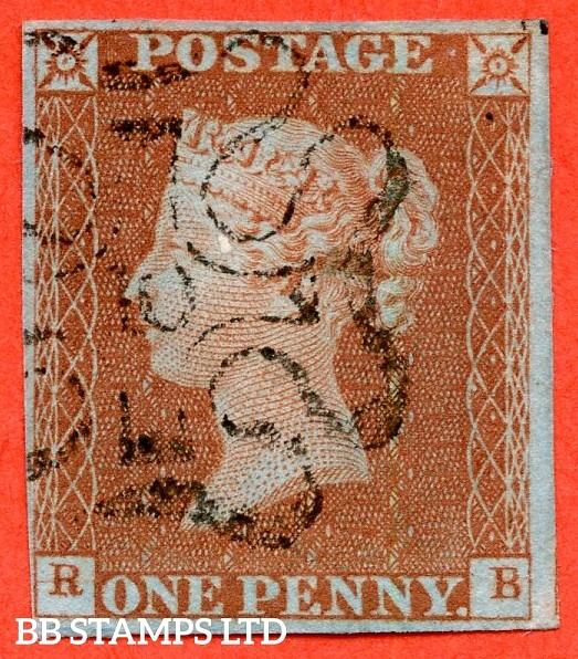 """SG. 8m. B1 (1) uj. BS22. """" RB """". 1d red - brown. Plate 34. """" 10 """" in maltese cross. A very fine used example with the constant varieties """" 1842/3 ray flaws and horizontal guide lines in SW and SE squares """".."""