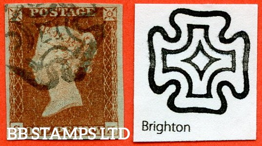 """SG. 8 L. B1 (1) tb. BS17. """" CK """". 1d red - brown. Plate 28. A very fine used example cancelled by a fine black """" BRIGHTON """" maltese cross."""