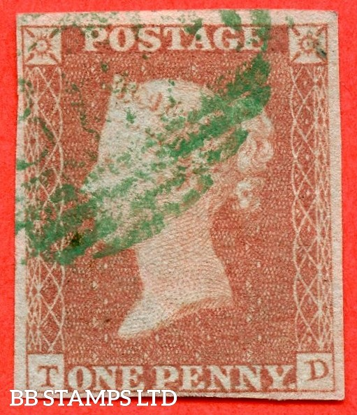 "SG. 8 p. B1 (1) xc. BS31. "" TD "". 1d red brown. Plate 98. A fine used example cancelled by a GREEN 1844 type postmark."