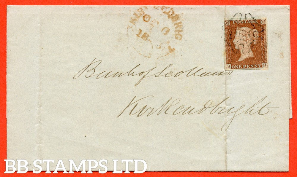 """SG. 8. B1 (1) tfa. """" SH """". 1d red brown. """" DUMFRIES """" maltese cross. A very fine used example on cover from Dumfries to Kirkcudbright back stamped """" October 5th 1843 """"."""