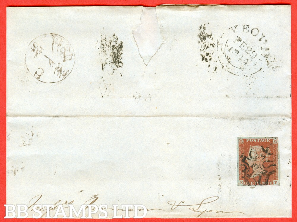 """SG. 8m. B1 (1) uj. """" KF """". BS26B. 1d red - brown. Plate 39. A fine used example on entire cancelled by a fine """" 10 """" in maltese cross """". Dated 28th February 1844 to YEOVIL."""