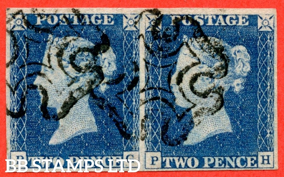 "SG. 5. D1 (2) uc. DS5. "" PG PH "". 2d blue. Plate 1. A fine used horizontal pair with the "" Ray flaws 2. 10 & 11 NE square. ' TW ' of ' TWO ' joined and ' O ' of ' TWO ' dented "" varieties."