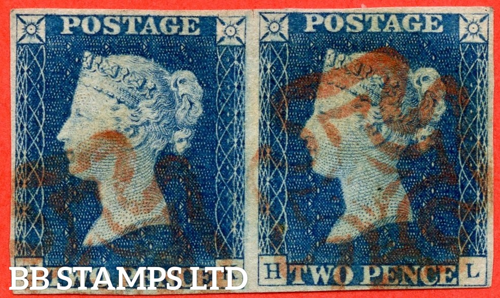 "SG. 5. D1 (2) ua. DS5. "" HK HL "". 2d blue. Plate 1. A fine used horizontal pair cancelled by a red maltese cross with the "" Ray flaws 10 & 2 NE square "" variety."