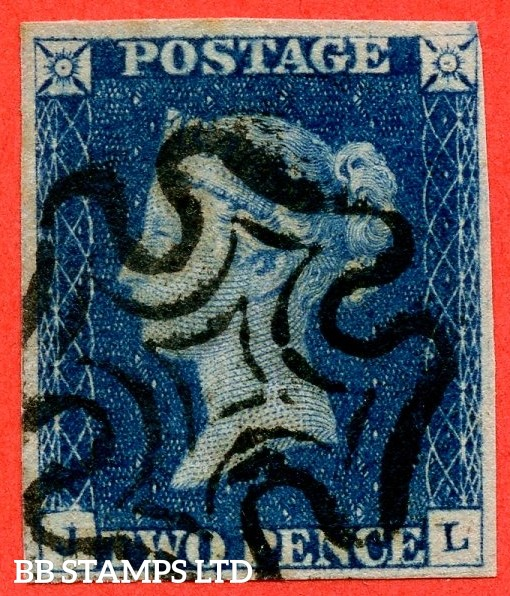 """SG. 4 a & b. D1 (1) f & g. DS1 e & j."""" JL """" 2d  deep full blue. Plate 1. A fine used example with the listed """" DOUBLE LETTER ' J ' """" and """" Horizontal guide line SE sq. """" varieties. Also """" Burr rub over ' GE ' of ' POSTAGE ' variety."""