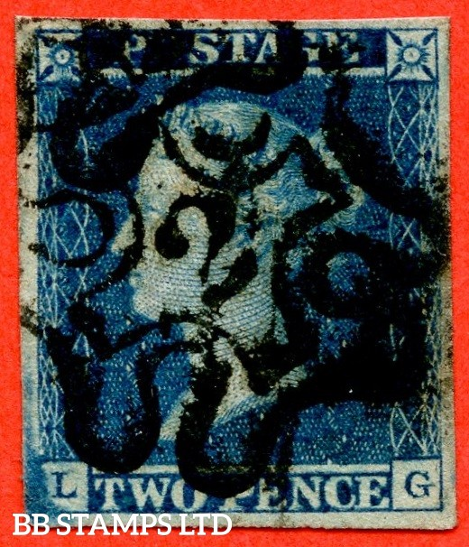 """SG. 14 f. E1 (2) vb. """" LG """". 2d blue. Plate 3. """" 2 """" in Maltese Cross. A good used example with a clear central strike. 4 large margins."""