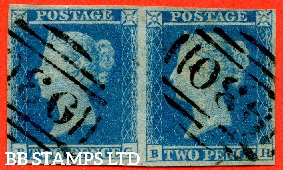 "SG. 14. E1 (2). ES14 n "" BG BH "". 2d Blue. Plate 4.  "" WITHOUT SPECTACLES VARIETY "". A very fine used horizontal pair of this listed variety. Currently catalogued at £1500.00."