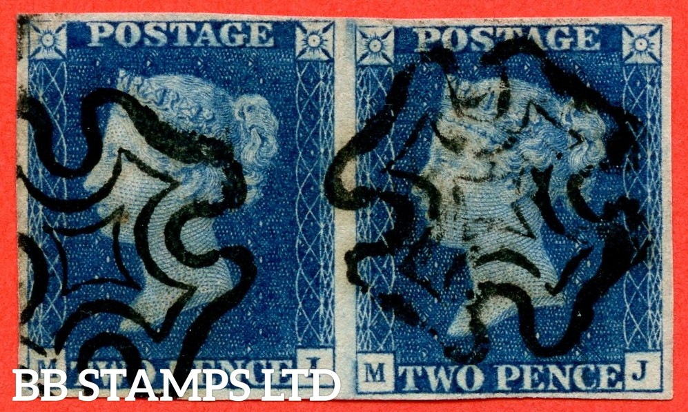 """SG. 4. D1 (1) uc. DS7. """" MI MJ """". 2d deep blue. Plate 2. A fine used horizontal pair cancelled by a black maltese cross. With the """" Marks in ' GE ' of ' POSTAGE ' and Ray Flaws 12 11 10 & 2 NE square """" varieties."""