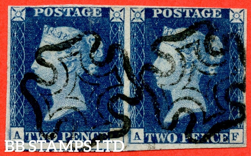 """SG. 4 b. D1 (1) uc. DS7. """" AE AF """". 2d deep blue. Plate 2. A fine used horizontal pair. ' AE ' with the listed """" Vertical guide line NE sq. """" variety. Also """" Right side line extends below. ' AF ' with the """" Marks in left margin """" variety."""