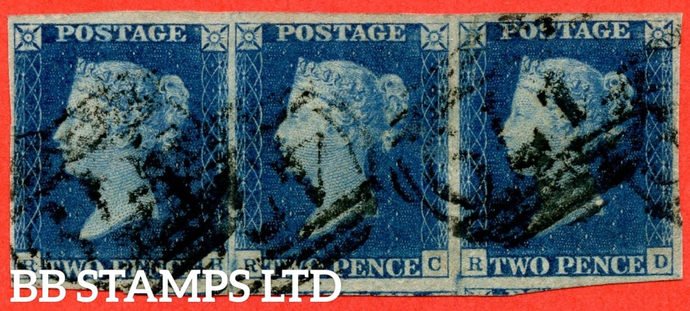 """SG. 5 i. D1 (2) xc. DS8 c. """" RB RC RD """". 2d blue. Plate 2. A good used horizontal strip of 3 cancelled by """" 479 LUDLOW """" 1844 NUMERAL cancel. Small faults but A RARE multiple."""