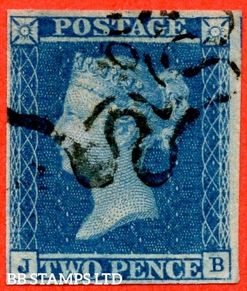 """SG. 14 f. E1 vj. """" JB """". 2d blue """" 10 """" in Maltese Cross. A very fine used example with a clear strike. 4 margins."""